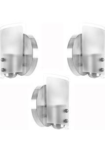 Kit 3 Arandelas Luminária De Vidro Espetaculosa - Tricae