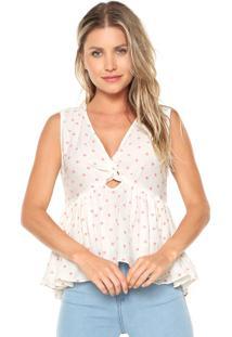 Regata Lily Fashion Poás Branca/Rosa