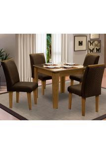 Sala De Jantar Saint Michel Com 4 Cadeiras – Dobuê Movelaria - Mell / Bege / Chocolate