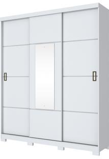 Guarda Roupa Henn Silver 3 Portas De Correr 1 Espelho Branco