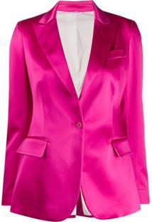 P.A.R.O.S.H. Blazer De Cetim Com Abotoamento Simples - Rosa
