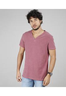Camiseta Masculina Slim Fit Com Botões Manga Curta Gola V Vinho