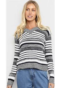 Suéter Tricô Fast Glam Básico Listrado Feminino - Feminino-Cinza+Preto