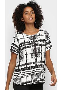 Camiseta Triton P&B Square Feminina - Feminino-Off White+Preto