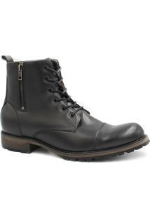 Bota Coturno Zariff Shoes Cadarço Zíper Masculina - Masculino-Preto