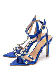 Sandália Bico Folha Gladiadora Salto Fino Luxo Em Metalizado Azul Bic Lançamento