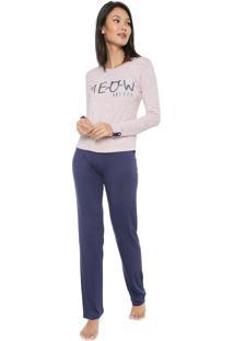 Pijama Any Any Meow Rosa/Azul-Marinho