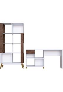 Kit Para Escritório Com Mesa Para Computador E Livreiro Milão- Genialflex - Branco / Demolição