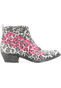 Golden Goose Ankle Boot Com Animal Print - Neutro