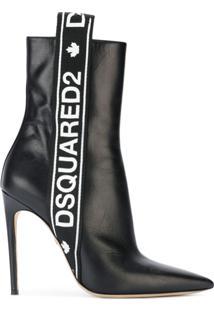 Dsquared2 Ankle Boot De Couro Com Logo E Listras - Preto