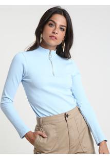Blusa Feminina Canelada Com Zíper De Argola Manga Longa Gola Alta Azul Claro