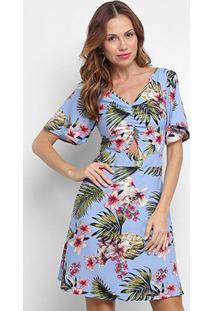 Vestido Curto Lily Fashion Floral Manga Curta Amarração Costas - Feminino-Azul