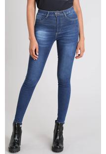 Calça Jeans Feminina Sawary Sculp Super Skinny Azul Escuro