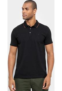Camisa Polo Jab Piquet Friso Masculina - Masculino-Preto