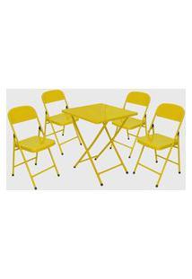 Conjunto Mesa C/ 4 Cadeiras Dobráveis Amarelo Açomix