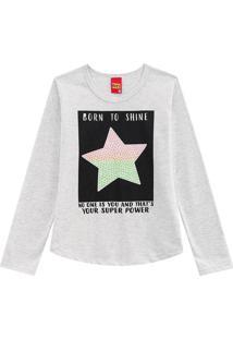 Blusa ''Born To Shine''- Cinza Claro & Preta- Kylykyly