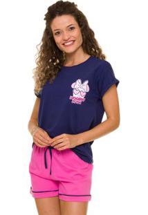 Pijama Short Doll Minnie Feminino Em Algodão