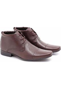 Bota Social Couro Prime Shoes Cano Curto Masculina - Masculino-Cafe