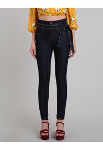 34319773b ... Calça Jeans Feminina Sawary Skinny Com Faixa Para Amarrar Azul Escuro