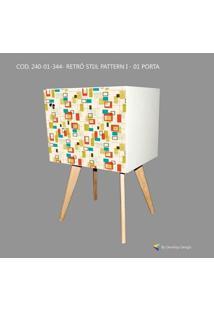 Armário Retrô Customizado Stijl Pattern I 1P, Mdf Branco, Pés Palitos, 71X45X35Cm, Develop Design