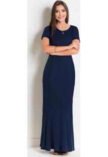 Vestido Longo Marinho Moda Evangélica