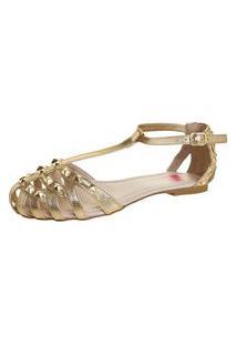Sandália Pink Connection Spikes Dourada