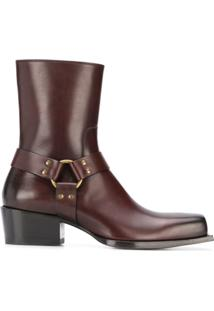 Dsquared2 Square Toe Strap-Detail Ankle Boots - Marrom