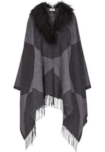 Fendi Poncho 'Touch Of Fur' - Preto