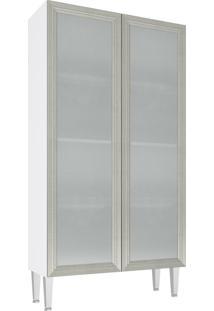 Cristaleira Com 2 Porta Vidro Cz707 80X149 Branco/Nude - Art In Móveis