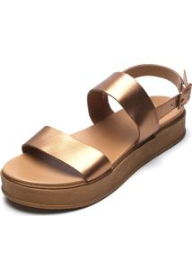 Sandália Couro Anacapri Metalizada Dourada
