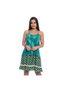 Vestido B'Bonnie Soltinho Yasmim Geométrico Verde