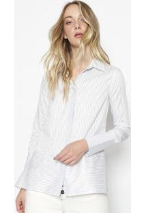 Camisa Listrada Com Recorte - Branca & Pretacalvin Klein