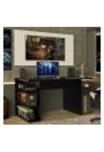 Mesa Para Computador Gamer Madesa 9409 E Painel Para Tv Até 50 Polegadas - Preto/Branco
