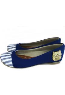 Sapatilha Likka Calçados Bico Redondo Azul Coruja