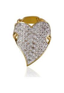 Anel Slogan Pave Oa Com Diamante Chocolate