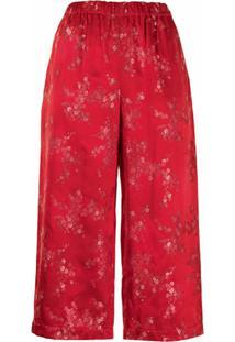Comme Des Garçons Comme Des Garçons Calça Com Estampa Floral De Cetim - Vermelho