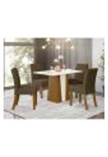 Mesa De Jantar Orus 120Cm 4 Cadeiras Vita - Nature/Off White/Marrom Claro