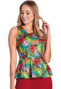 Blusa Peplum Tropical Moda Evangélica