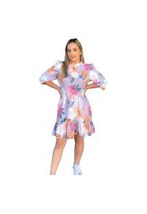 Vestido Curto Etiqueta Rosa Estampado Lilás