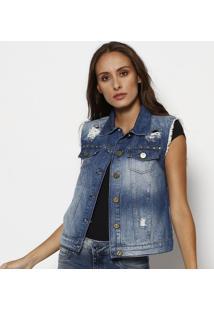 Colete Jeans Listrado Com Rebites - Azul Escuro- Tuatuareg
