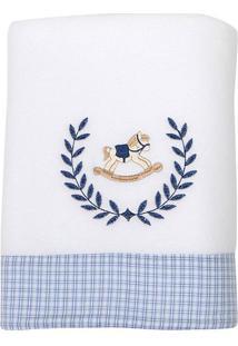 Cobertor Soft Cavalinho De Pau- Branco & Azul- 75X10Biramar