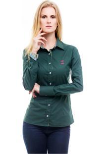 Camisa Social Hat Trick Verde Com Detalhes