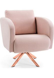Poltrona Decorativa Sala De Estar Dama Base Giratória Rosê Algodão Rosa - Gran Belo
