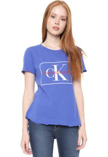 Camiseta Calvin Klein Jeans Logo Mullet Azul