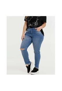 Calça Plus Size Feminina Destroyed Cigarrete Zune Jeans