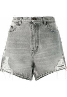 Saint Laurent Bermuda Jeans Com Puído - Cinza