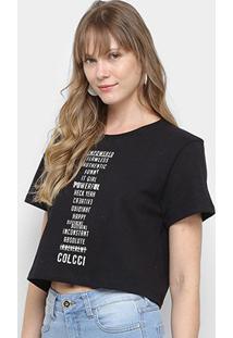 Camiseta Cropped Colcci Estampada Feminina - Feminino-Preto