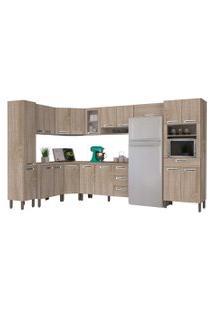 Cozinha Modulada Ametista 11 Módulos Composiçáo 1 Nogal - Kit'S Paraná