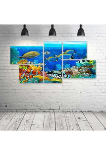Quadro Decorativo - Sea-Seabed-Fish-Corals-Underwater-Ocean - Composto De 5 Quadros
