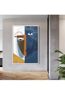 Quadro 60X40Cm Abstrato Geomã©Trico Oriental Kofuku Moldura Flutuante Filete Branca - Multicolorido - Dafiti